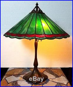 SIGNED Antique HANDEL Leaded Stained Glass TABLE LAMP c 1903