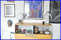 SONNEMAN Vtg Mid Century Modern Chrome Cylinder Glass Ball Orb Table Lamp Eames