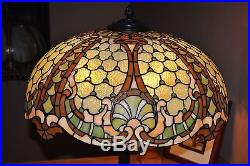 Scarce Arts&Crafts, Art Nouveau Williamson Leaded Stained Slag Glass Floor Lamp