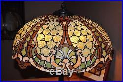 Scarce Arts&Crafts, Art Nouveau Williamson Leaded Stained Slag Glass Floor Lamp
