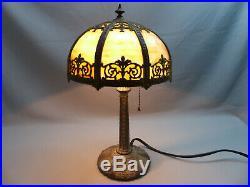 Scarce Miller Intermediate or Miniature Bent Panel Slag Glass Table Lamp ca 1915