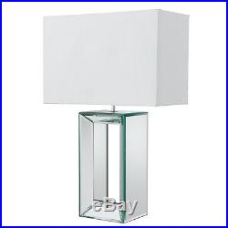 Searchlight Reflections 1 Light Large Mirror Table Lamp With White Silk Shade