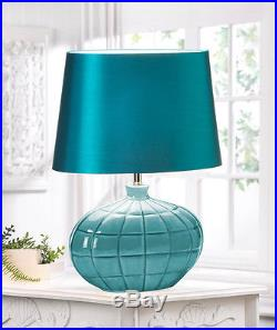 Set Of 2 Gallant Teal Ceramic Table Lamp & Silken Shade Decor New10016025