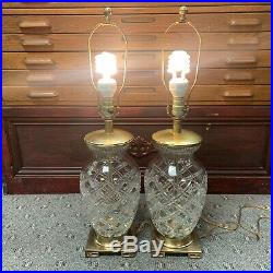 Set Of 2 Vintage Frederick Cooper Cut Glass Crystal And Brass Lamp