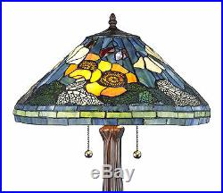 Set of 2 Tiffany Style Golden Poppy Table Lamps Handcrafted 16 Shade