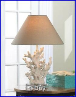 Set of 2 White Coral Table Lamps with Neutral Color Fabric Shades Nautical Decor