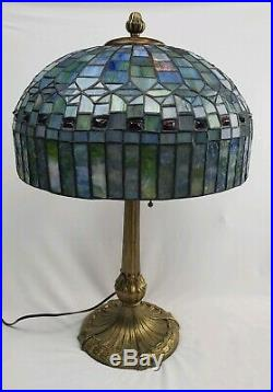 Signed Ornate Antique Chicago Mosaic Lamp Co. Leaded Stained Glass Lamp WORKS