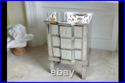 Silver Antique Mirrored Glass Bedside Living Lamp Side Table Cabinet Storage