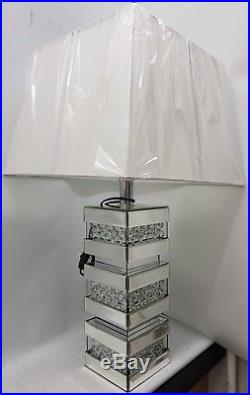 Silver Mirrored Table Lamp Bling Floating Crystal Effect Black or White Shade