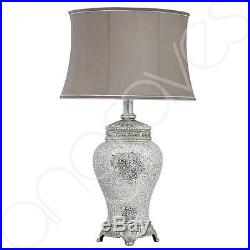 Silver Sparkle Mosaic Antique Regency Lamp and Silver Trimmed Taupe Shade (79cm)