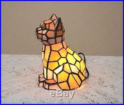 Sold out! 8.5H Stained Glass Tiffany Style Kitty Cat Night Light Table Desk Lamp
