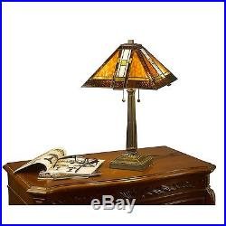 Southwest Tiffany Style Table Lamp Stained Glass Desk Art Deco Mission Craftsman