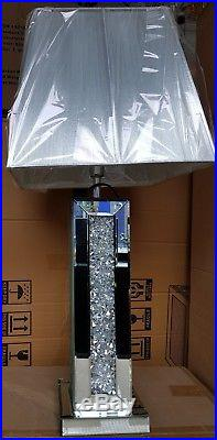 Sparkly Square Table Lamp Silver Mirrored Diamond Crush Crystal Tall