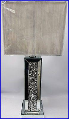 Sparkly Square Table Lamp Silver Mirrored Diamond Crush Crystal Tall with Shade