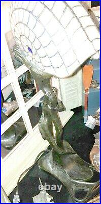 Spectacular Mermaid Holding Stained Glass Nautilus Lamp 28