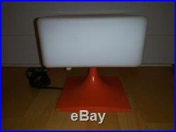 Square ORANGE Glass Shade Laurel Table Lamp Mid Century Modern Eames Era VINTAGE