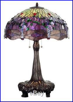 Stain Glass 32 Inch H Tiffany Hanging head Dragonfly Table Lamp FREE SHIPPING