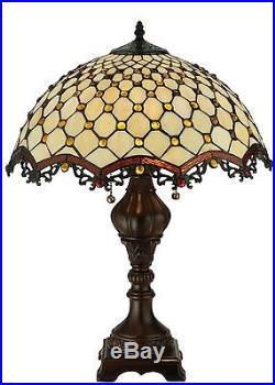 Stain Glass Table Lamp 24 Inch H Diamond & Jewel Meyda Tiffany Style