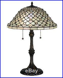Stain Glass Table Lamp 25 Inch H Diamond & Jewel Meyda Tiffany Style