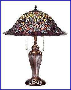 Stain Glass Table Lamp 25 Inch H Tiffany Peacock Feather Meyda