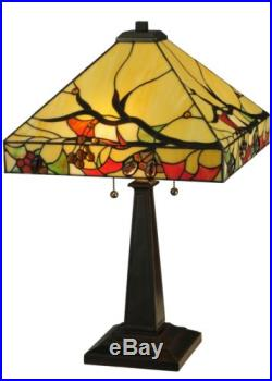 Stain Glass Table Lamp 25 Inch H Woodland Berries Meyda Tiffany Style