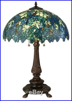 Stain Glass Table Lamp 26 Inch H Nightfall Wisteria Meyda Tiffany Style