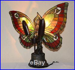 Stained Glass Butterfly Deco Girl Night Light Table Desk Lamp