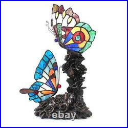 Stained Glass Chloe Lighting Butterfly 2 Light Table Lamp 17 Tall Handcrafted