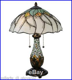 Stained Glass Glass Table Lamp Flower Floral Tiffany Style Light 22.5H