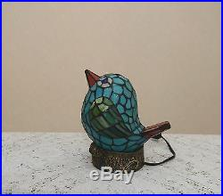 Stained Glass Handcrafted Lovely Bird Night Light Table Desk Lamp. Cute
