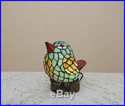 Stained Glass Handcrafted Lovely Bird Night Light Table Desk Lamp. Very Cute