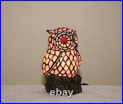 Stained Glass Handcrafted Owl Night Light Table Desk Lamp