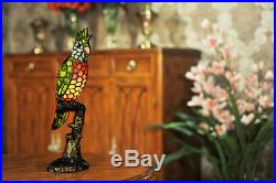 Stained Glass Handcrafted Parrot Night Light Table Desk Lamp