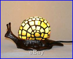 Stained Glass Handcrafted Snail Night Light Table Desk Lamp. Metal Base