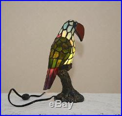 Stained Glass Handcrafted Toucan Tropical Bird Night Light Table Desk Lamp
