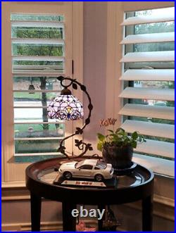 Stained Glass Reading Lamp Blue Purple Baroque Style Table Bedroom Desk Light