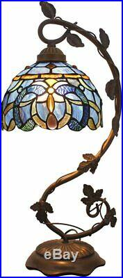 Stained Glass Reading Lamp Table Light Blue Purple Desk Baroque Tiffany Style
