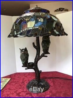 Stained Glass Table Lamp Tiffany Style BIRDS Art Mission Craftsman Victorian Owl