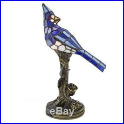 Stained Glass Tiffany Style Blue Jay Bird Lamp 13.5 Night Light Handcrafted