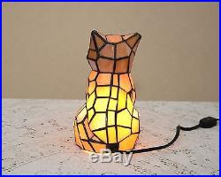 Stained Glass Tiffany Style Kitty Cat Night Light Table Desk Lamp