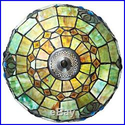 Stained Glass Tiffany Table Lamp Vintage Accent Victorian Theme