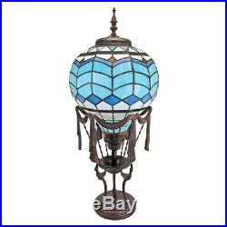 Steampunk Hot Air Balloon Illuminated Stained Art Glass 27.5 Statue Table Lamp