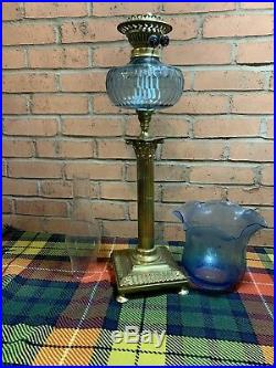 Stunning Blue Glass Victorian Corinthian Column Twin Duplex Table Oil Lamp