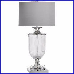 Stunning Large Glass Urn Base Table Lamp Silver Metal Detail Textured Shade
