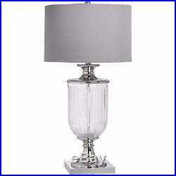 Stunning Large Glass Urn Base Table Lamp Silver Metal Detail Textured Shade