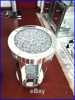 Stunning Large Round Crushed Crystal Mirrored Glass Lamp Table Home Decor