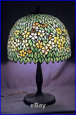 Super Nice Periwinkle Leaded Stained Glass Table Lamp By Unique Handle Classique