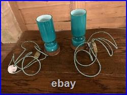 Swedish ELME Table Lamps, 1960's Retro Scandanavian Lighting, Hand Blown Glass