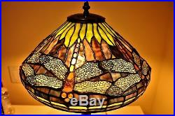 TIFFANY STYLE LAMP DRAGONFLY LEADED GLASS LAMP WithTREE BASE RARE Vintage