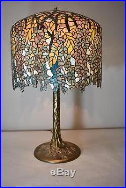 Tiffany Style Wisteria Leaded Stained Glass Table Lamp